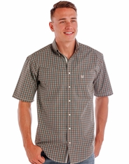 Rough Stock Men's Short Sleeve Plaid Button Down Shirt - Brown