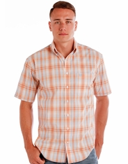 Rough Stock Men's Short Sleeve Plaid Button Down Shirt - Orange