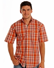 Rough Stock Men's Short Sleeve Plaid Button Down Shirt - Rust (Closeout)