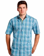 Rough Stock Men's Short Sleeve Plaid Button Down Shirt - Turquoise