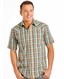 Rough Stock Men's Short Sleeve Plaid Snap Shirt- Turquoise (Closeout)