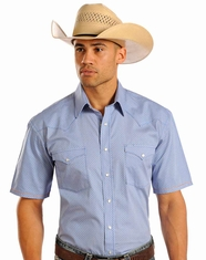 Rough Stock Men's Short Sleeve Print Snap Shirt - Blue (Closeout)