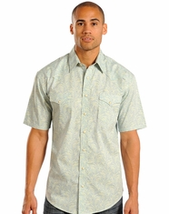Rough Stock Men's Short Sleeve Print Snap Shirt - Green (Closeout)