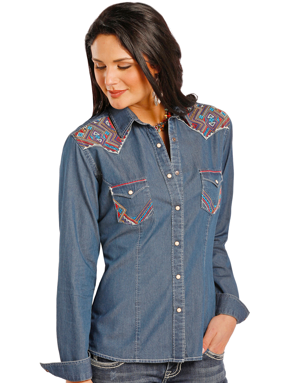 Rough Stock Women's Long Sleeve Embroidered Chambray Snap Shirt- Blue