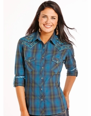 Rough Stock Women's Long Sleeve Embroidered Plaid Snap Shirt- Blue (Closeout)
