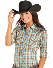 Rough Stock Women's Long Sleeve Embroidered Plaid Snap Shirt - Turquoise