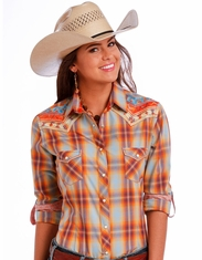 Rough Stock Women's Long Sleeve Embroidered Snap Shirt - Orange