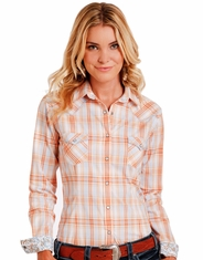 Rough Stock Women's Long Sleeve Plaid Snap Shirt- Orange