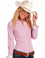 Rough Stock Women's Long Sleeve Plaid Snap Shirt- Pink