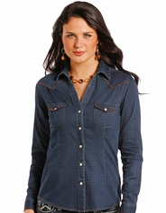 Rough Stock Women's Long Sleeve Print Chambray Snap Shirt- Blue (Closeout)