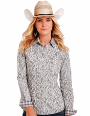 Rough Stock Women's Long Sleeve Print Snap Shirt- Grey