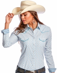 Rough Stock Women's Long Sleeve Print Snap Shirt- White