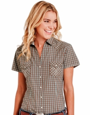 Rough Stock Women's Short Sleeve Plaid Snap Shirt- Brown