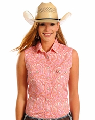 Rough Stock Women's Sleeveless Printed Snap Shirt- Pink (Closeout)