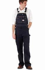 Round House Denim Bib Overall (Button Fly) - Blue