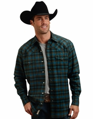 Stetson Men's Long Sleeve Plaid Flannel Snap Shirt - Green