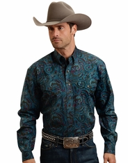Stetson Men's Long Sleeve Print Button Down Shirt - Blue (Closeout)