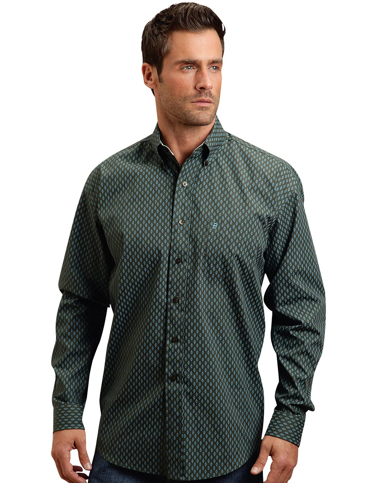 Stetson men 39 s long sleeve print button down shirt green for Mens long sleeve button down shirts