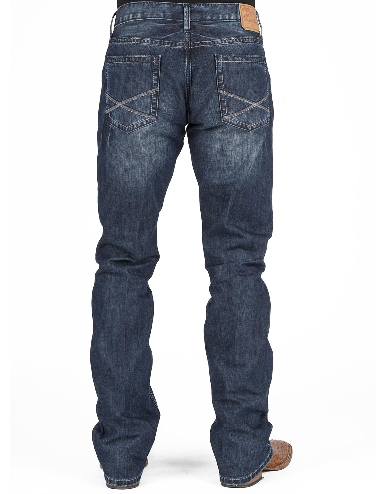 Stetson Menu0026#39;s Low Rise Relaxed Fit Boot Cut Jeans - Dark Wash