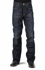 Stetson Mens Modern Fit Boot Leg Jeans with X Stitch - Dark Stone