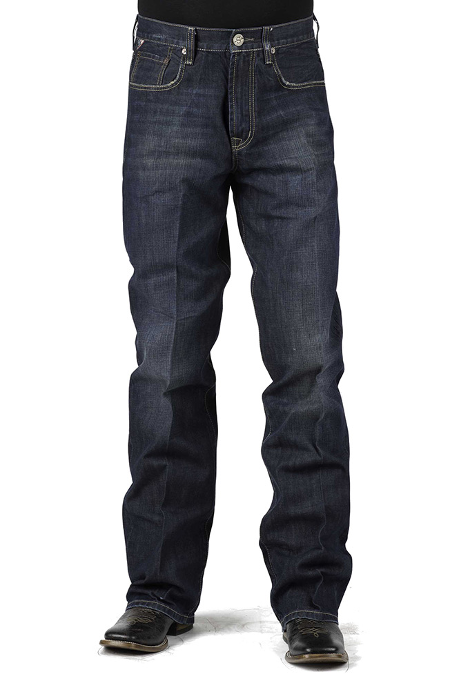 Stetson Mens Modern Fit 1312 Straight Leg Jeans with X Stitch - Dark Stone
