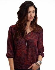 Stetson Women's 3/4 Sleeve Chiffon Print Top - Red (Closeout)