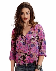 Stetson Women's 3/4 Sleeve Floral Print Peasant Top - Pink (Closeout)