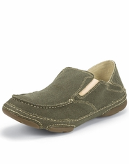 Tony Lama Men's Canvas Slip-on Shoe - Olive