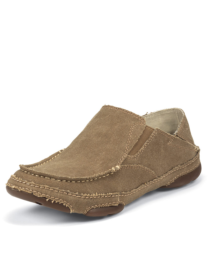 Tan Canvas Slip On Shoes