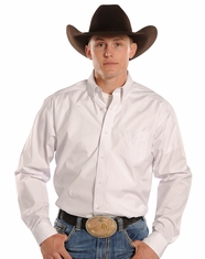 Tuf Cooper Men's Long Sleeve Competition Fit Dobby Button Down Shirt-White (Closeout)