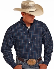 Tuf Cooper Men's Long Sleeve Competition Fit Plaid Button Down Shirt - Blue
