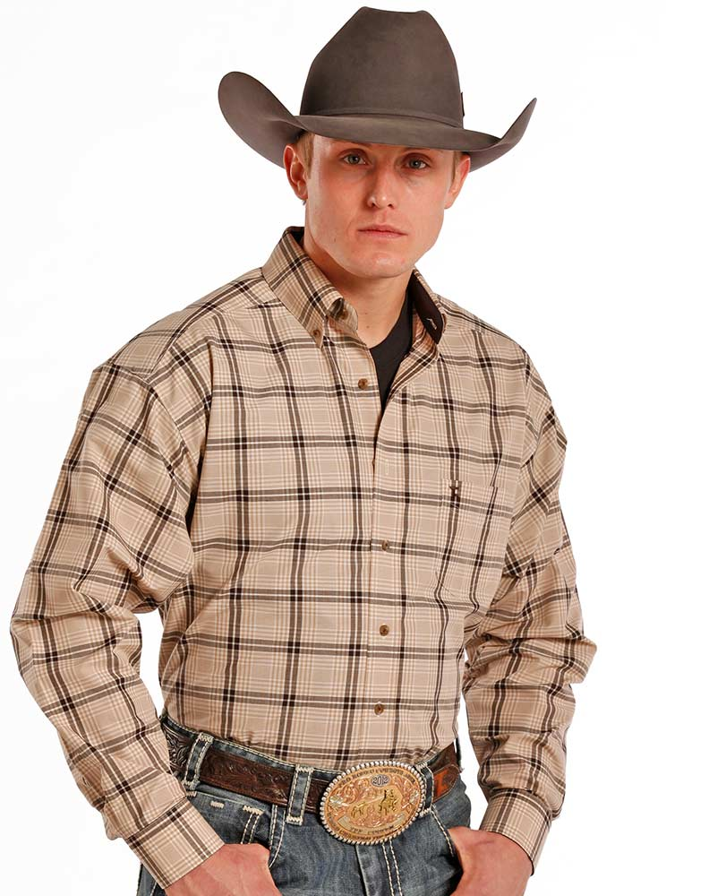 Tuf Cooper Men's Long Sleeve Plaid Button Down Shirt - Brown