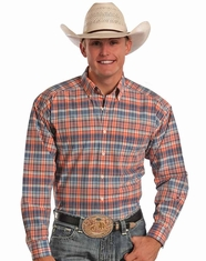 Tuf Cooper Men's Long Sleeve Competition Fit Plaid Button Down Shirt - Orange (Closeout)