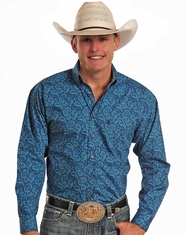 Tuf Cooper Men's Long Sleeve Competition Fit Print Button Down Shirt - Blue (Closeout)