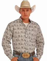 Tuf Cooper Men's Long Sleeve Competition Fit Print Button Down Shirt - Grey (Closeout)