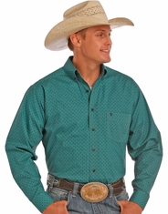 Tuf Cooper Men's Long Sleeve Competition Fit Print Button Down Shirt - Turquoise (Closeout)
