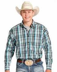 Tuf Cooper Men's Long Sleeve Competition Fit Plaid Button Down Shirt - Blue (Closeout)