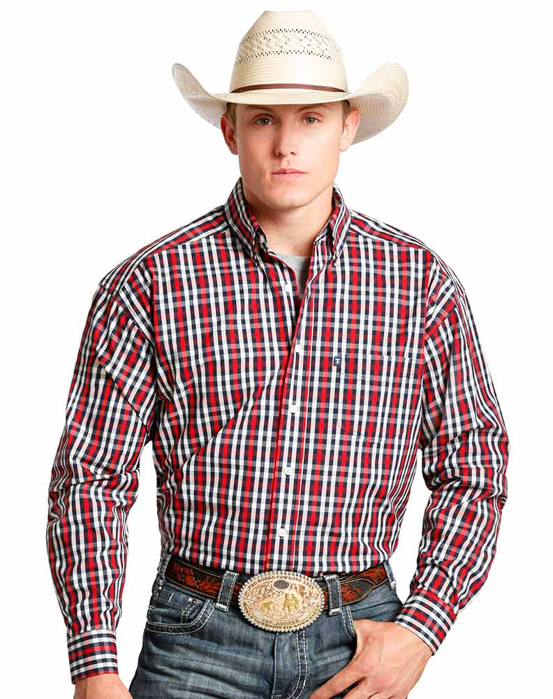 Tuf Cooper Men's Long Sleeve Competition Fit Plaid Button Down Shirt - Red (Closeout)