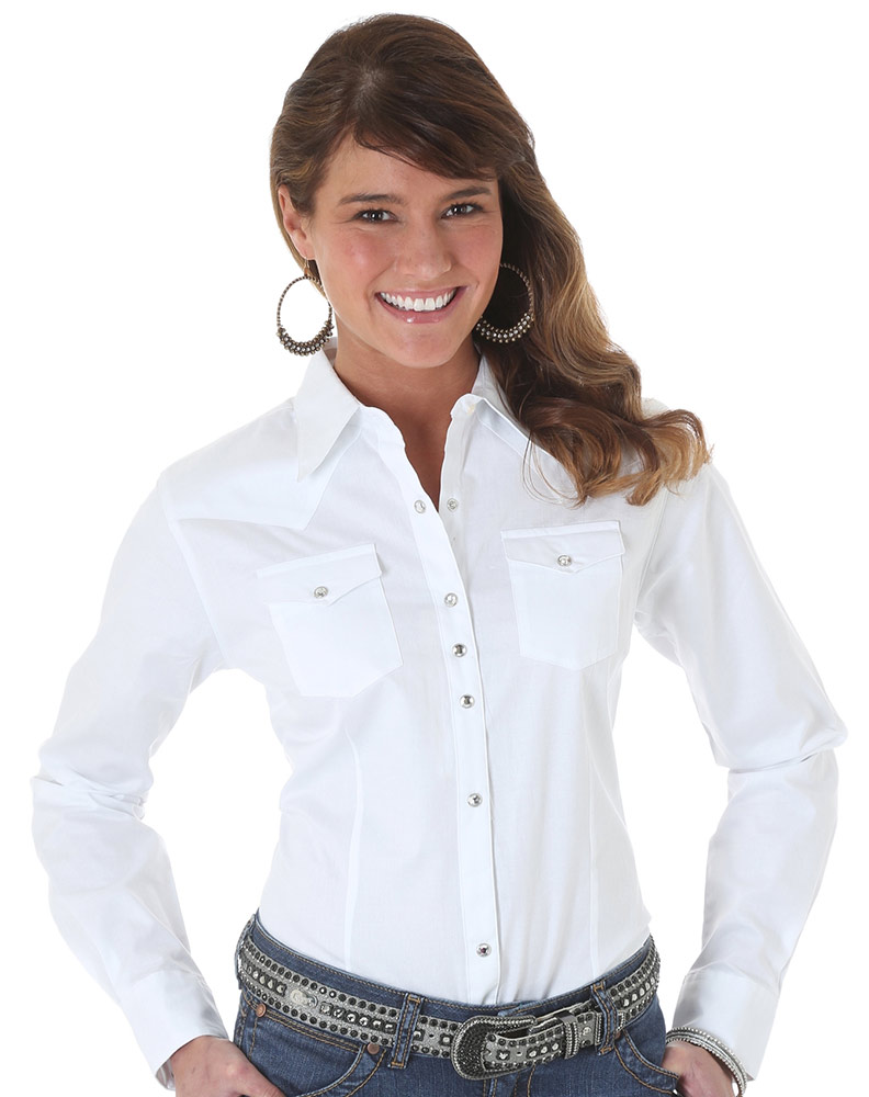 Women S Wrangler Ls Solid Snap Shirt White
