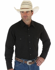 Wrangler 71105BK Men's Basic Western Snap Shirt - Black