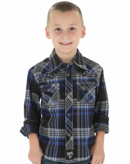 Wrangler Boy's Long Sleeve Rock 47 Plaid Snap Shirt - Blue (Closeout)