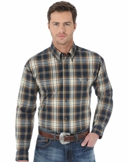 Wrangler Men's 20X Plaid Button Down Shirt - Teal (Closeout)