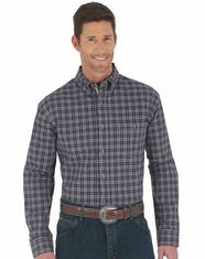 Wrangler Men's Advanced Comfort Plaid Button Down Shirt - Plum (Closeout)