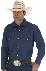 Wrangler Men's Classic Fit Long Sleeve Rigid Denim Snap Western Work Shirt - Indigo