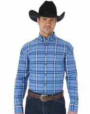 Wrangler Men's George Strait Plaid Button Down Shirt - Navy (Closeout)