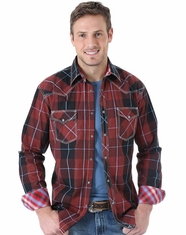 Wrangler Men's Long Sleeve 20X Plaid Snap Shirt - Red (Closeout)