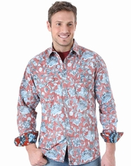 Wrangler Men's Long Sleeve 20X Printed Snap Shirt - Red (Closeout)