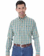 Wrangler Men's Long Sleeve Classic Plaid Button Down Shirt - Khaki/Green (Closeout)