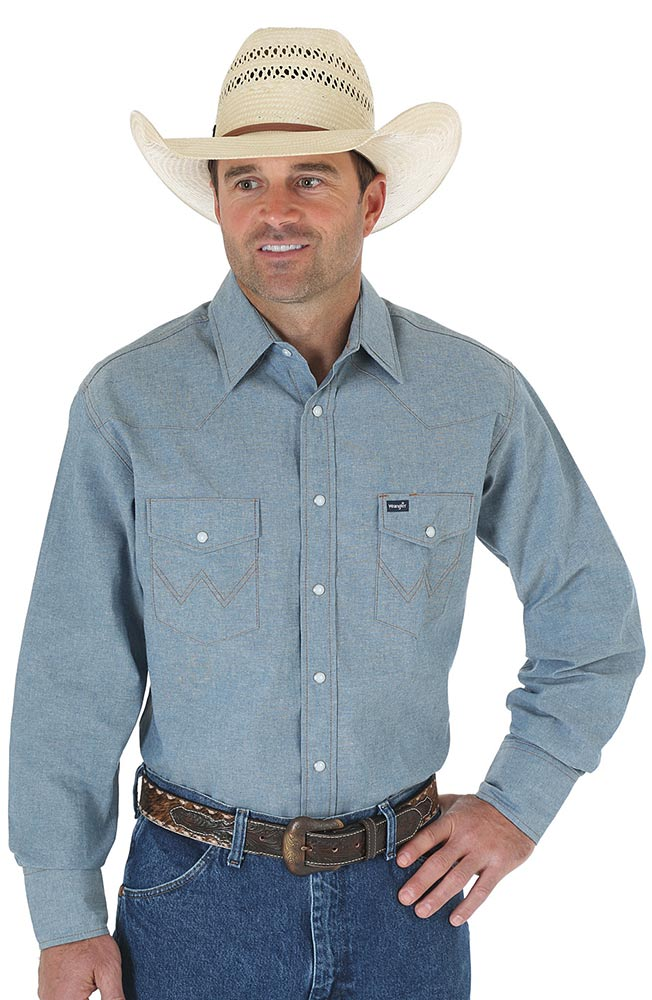 wrangler men 39 s long sleeve cowboy cut chambray western