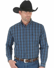 Wrangler Men's Long Sleeve Plaid Button Down Shirt - Black/Blue (Closeout)